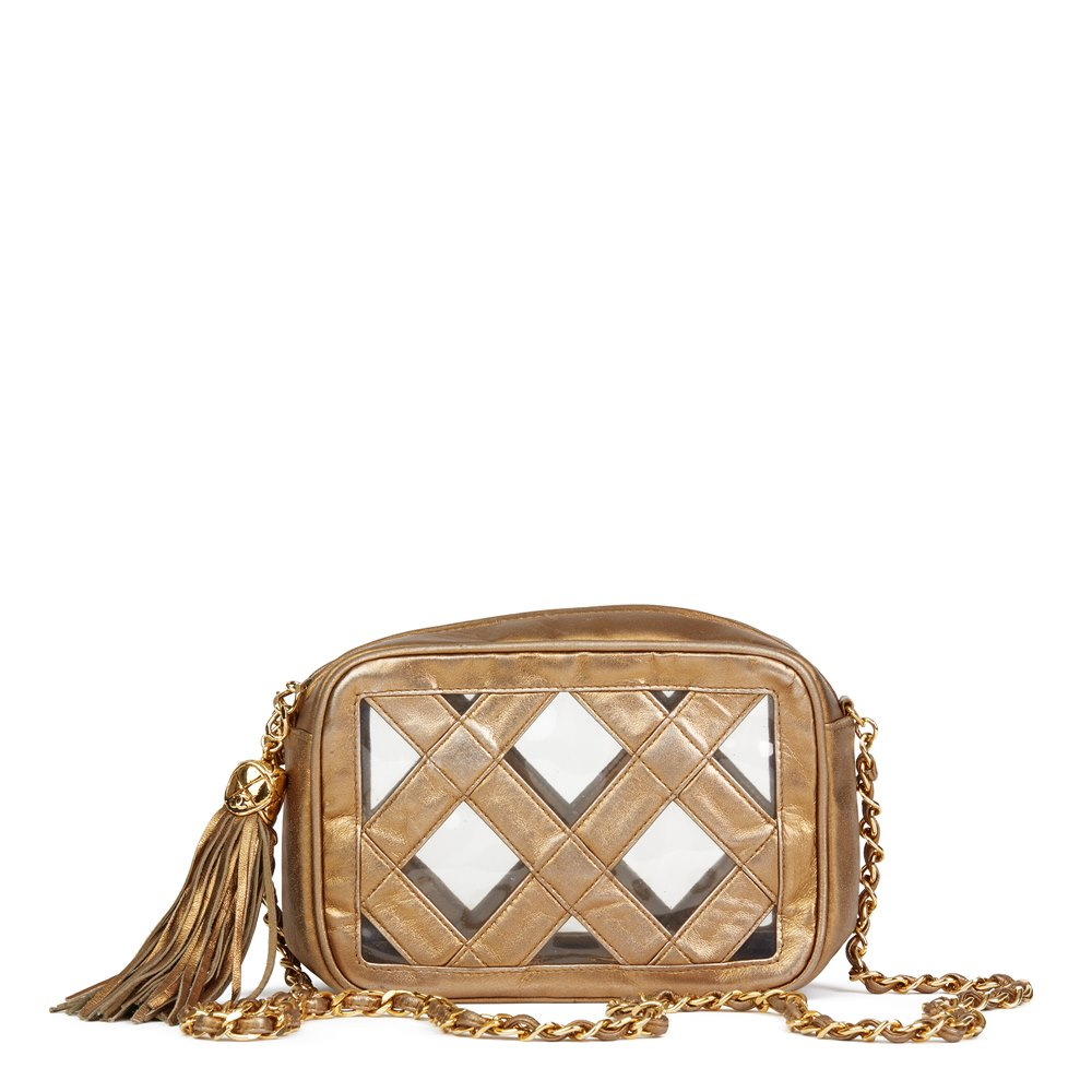 Chanel Gold Metallic Lambskin & PVC Vintage Naked Camera Bag