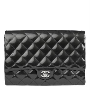 Chanel Black Quilted Patent Leather Clutch-on-Chain