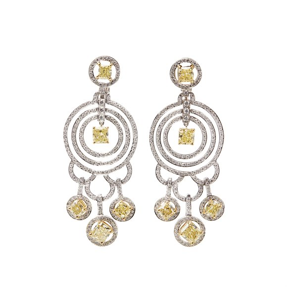Graff Diamonds 18k White Gold Fancy Yellow & White Diamond Dress Earrings