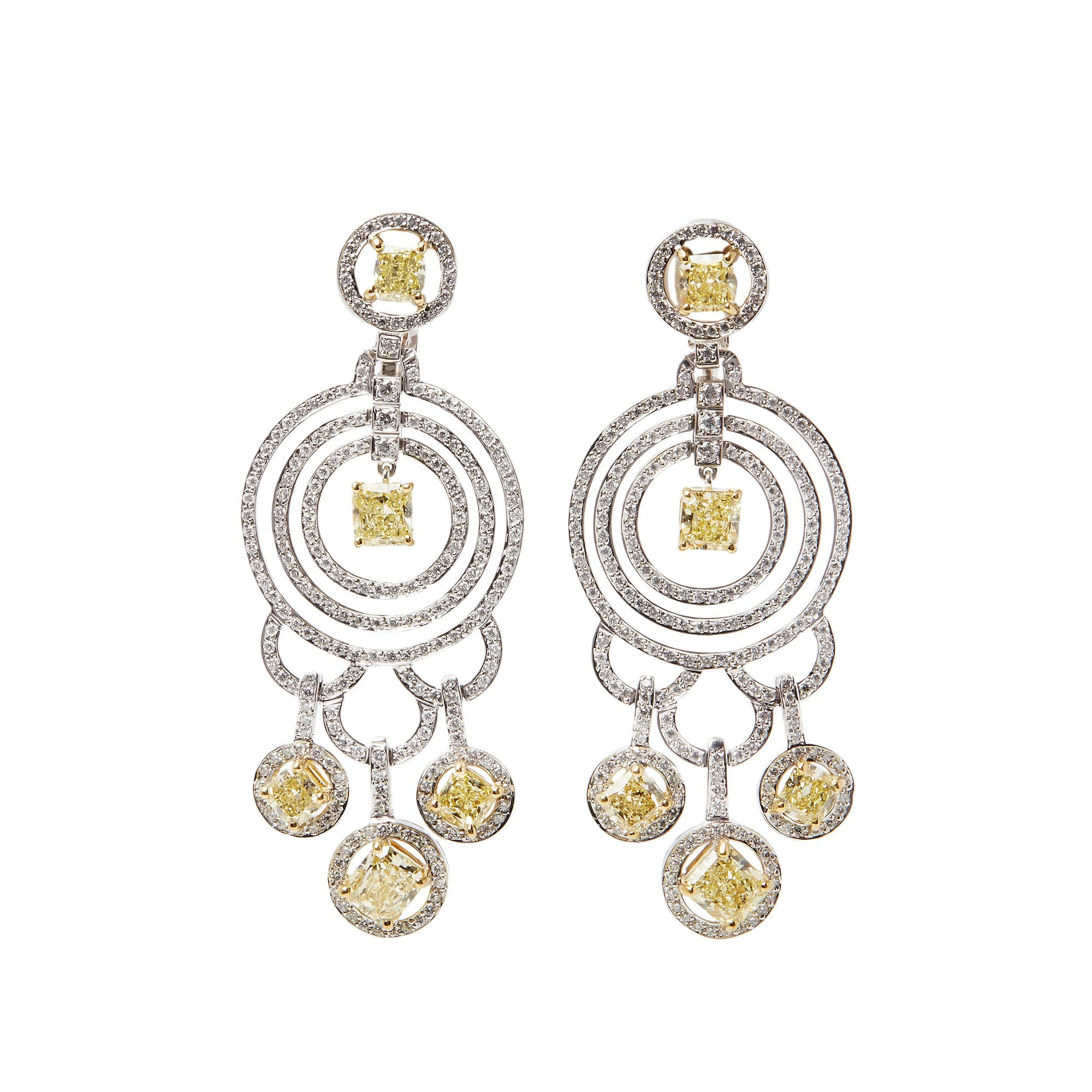 Graff Diamonds 18k White Gold Fancy Yellow & White Diamond Dress Earrings