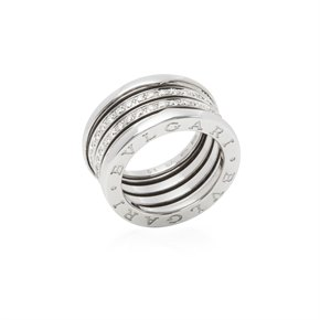 Bulgari 18k White Gold 4 Band Diamond B.Zero 1 Ring