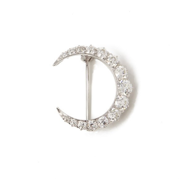 Tiffany & Co. Platinum Diamond Crescent Moon Brooch