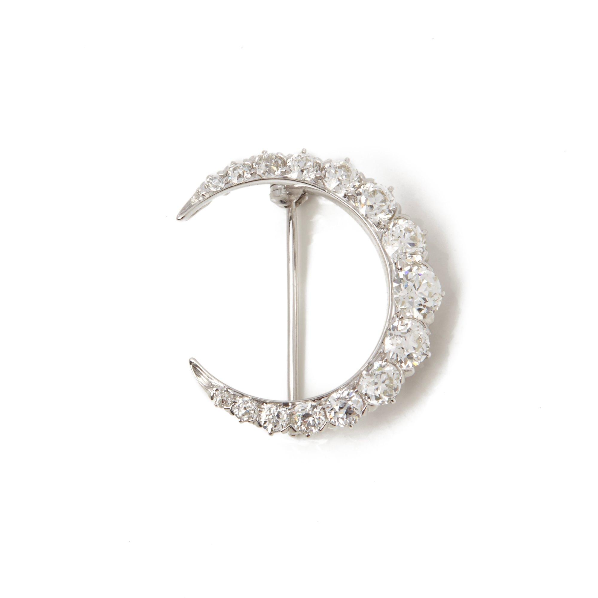Tiffany & Co. Platinum Diamond Crescent Moon Brooch