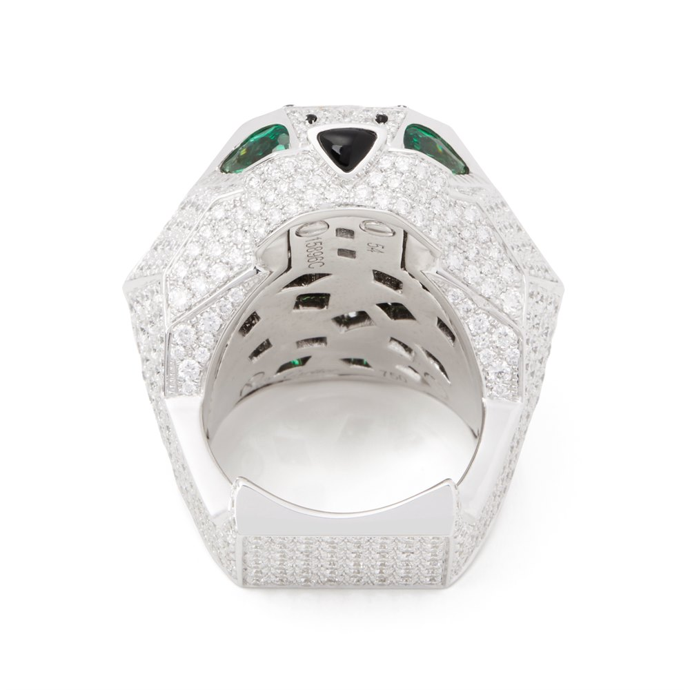 Cartier 18k White Gold Diamond, Emerald & Onyx Large Panthere Ring