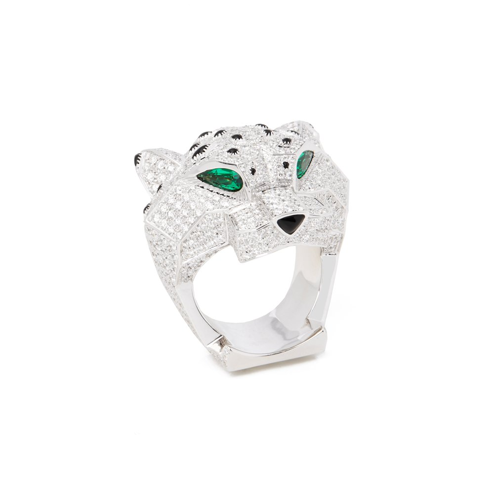 Cartier 18k White Gold Diamond, Emerald & Onyx Large Panthère Ring