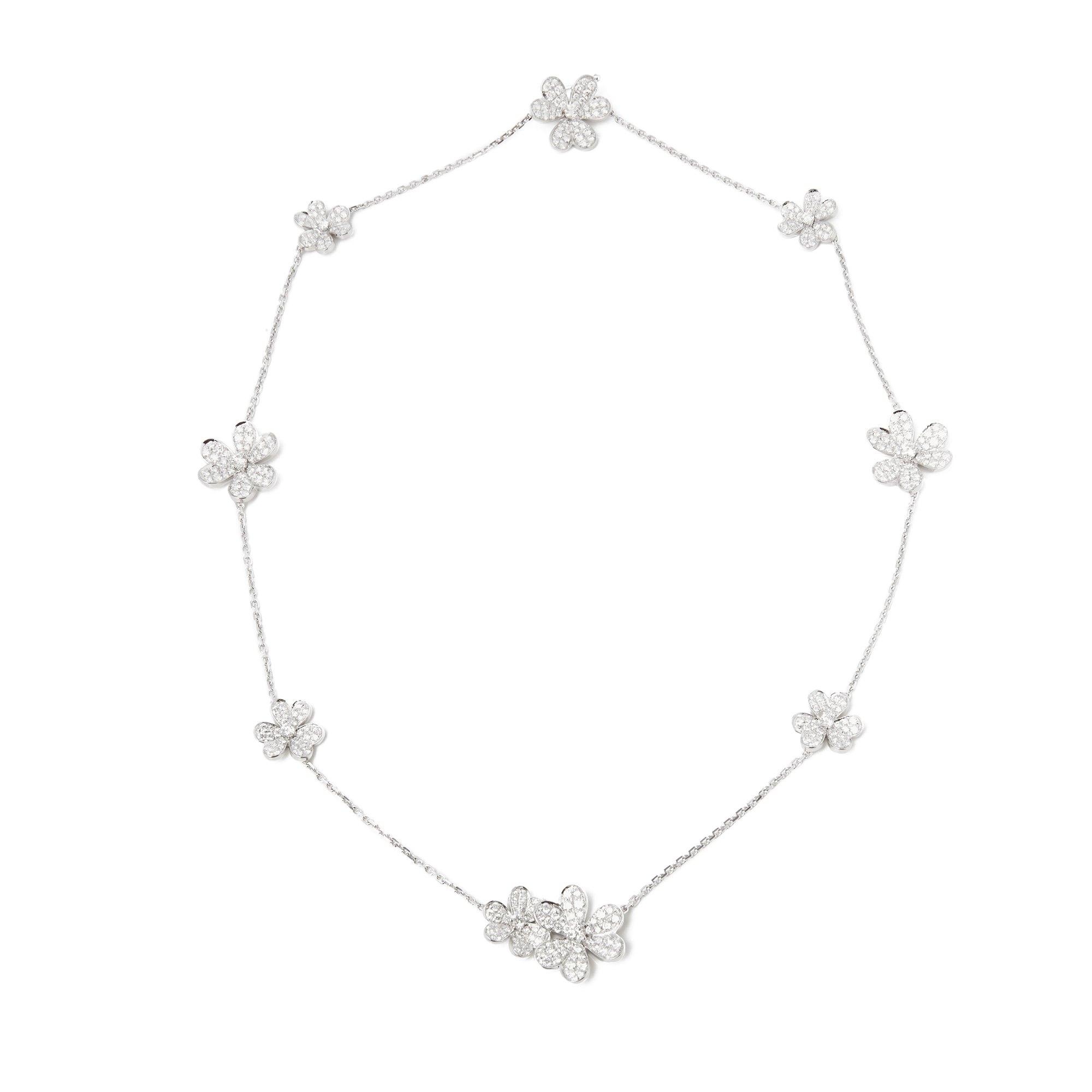Van Cleef & Arpels 18k White Gold Diamond 9 Flower Frivole Necklace