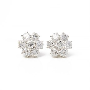 Boodles 18k White Gold Diamond Cluster Stud Earrings