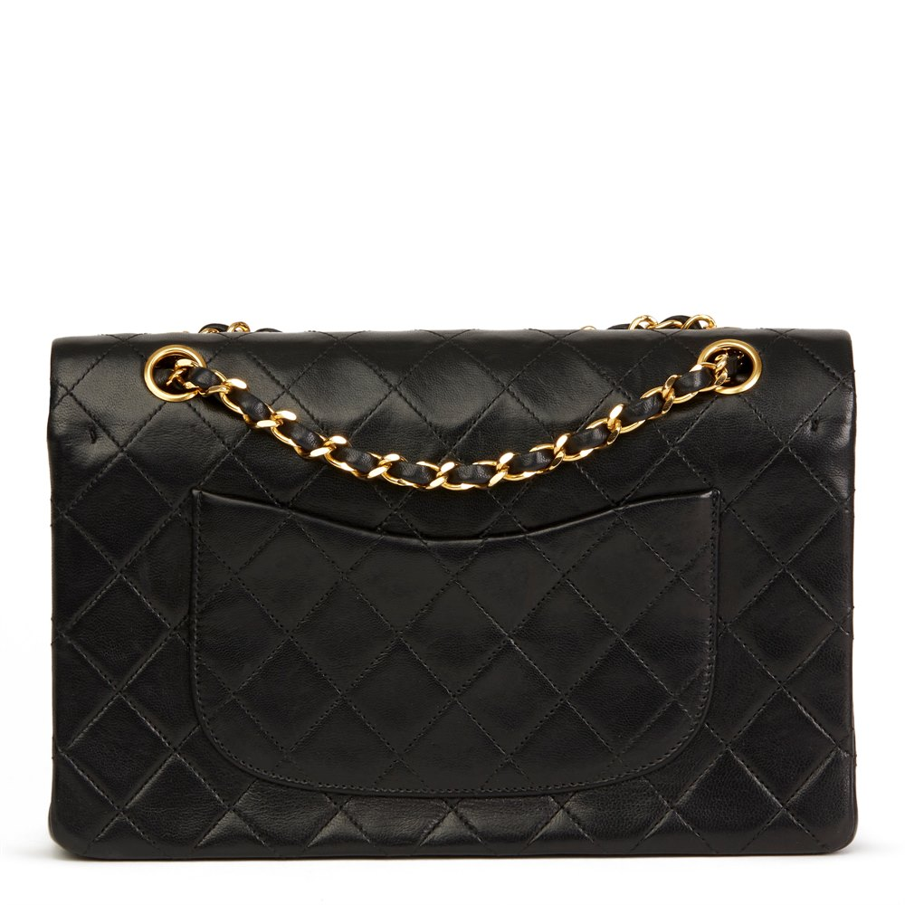 9ba64e18ec08 Chanel Black Quilted Lambskin Vintage Medium Classic Double Flap Bag