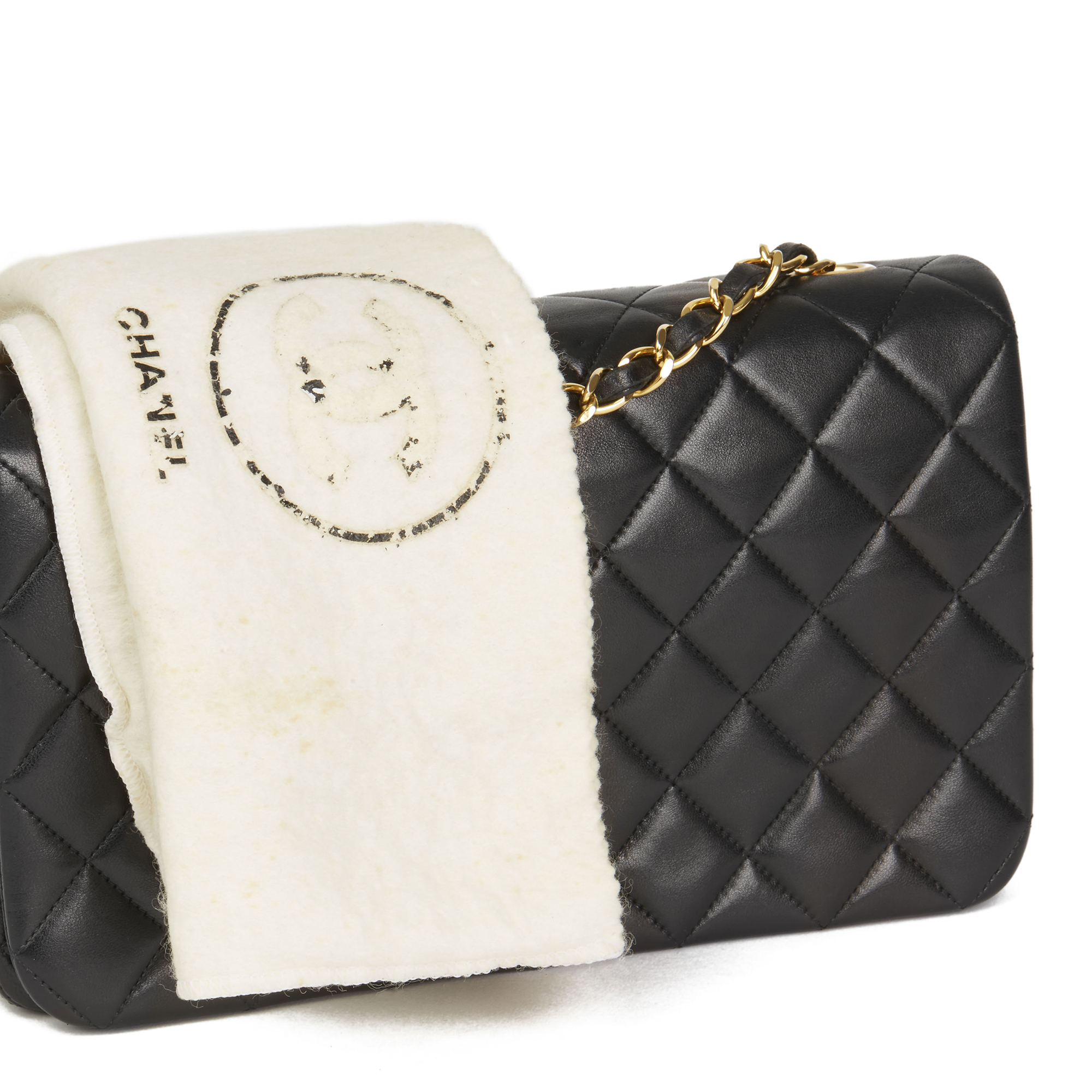 4f536dc601a3 Chanel Black Quilted Lambskin Vintage Small Classic Single Full Flap Bag