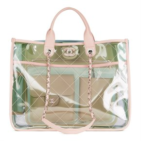 Chanel Green, Blue, Pink Lambskin & PVC Large Naked Shopping Tote