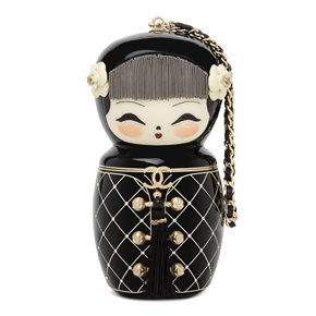 Chanel Black Plexiglass & Enamel Paris-Shanghai China Doll Minaudiere