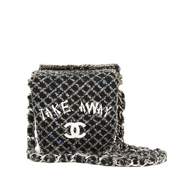 Chanel Grey Embellished Tweed Paris-Shanghai Take Away Box Bag