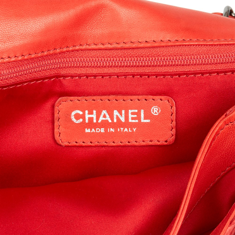 Chanel Red Heavy-Stitch Quilted Python Leather Classic Single Flap Bag