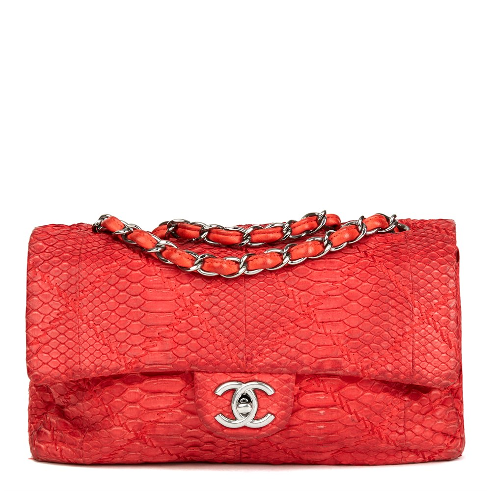 Red Heavy-Stitch Quilted Python Leather Classic Single Flap Bag