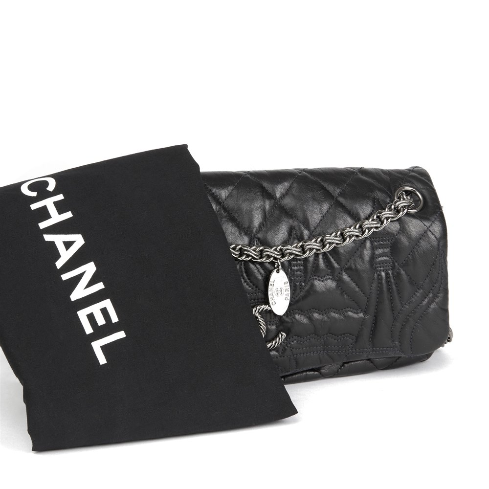 94b0683617fd Chanel Black Quilted Lambskin Leather Paris-Moscou Red Quare Flap Bag