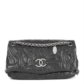 Chanel Black Quilted Lambskin Leather Paris-Moscou Red Quare Flap Bag