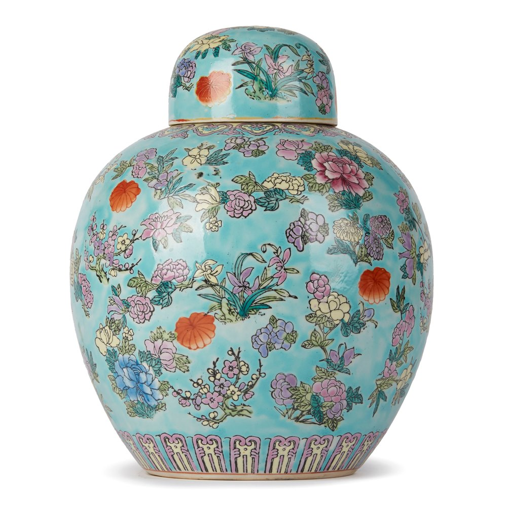 CHINESE PORCELAIN FAMILLE ROSE LIDDED GINGER JAR 20th Century