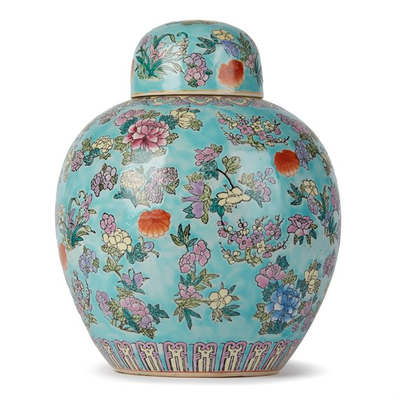 CHINESE PORCELAIN FAMILLE ROSE LIDDED GINGER JAR