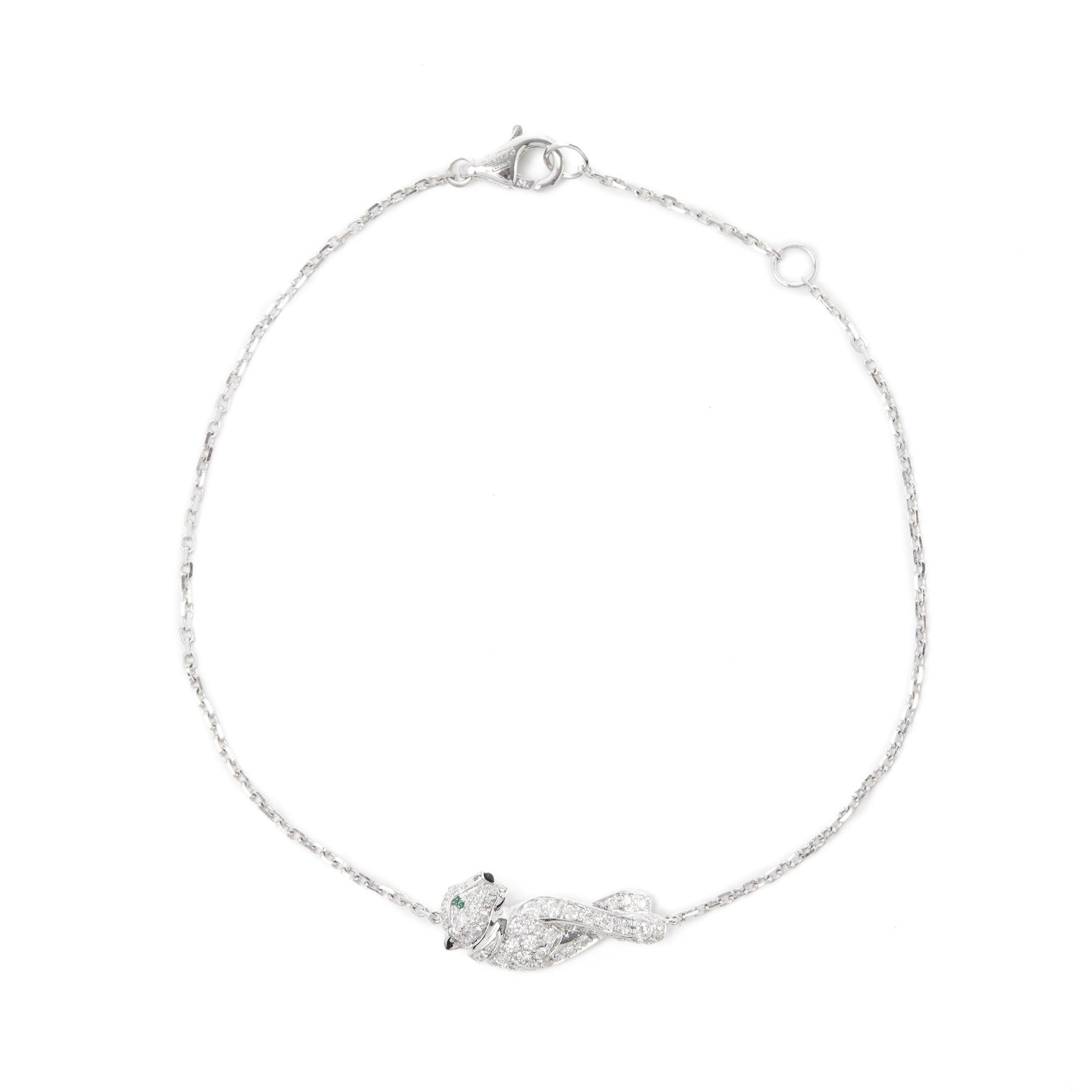 Cartier 18k White Gold Diamond Panthère Bracelet