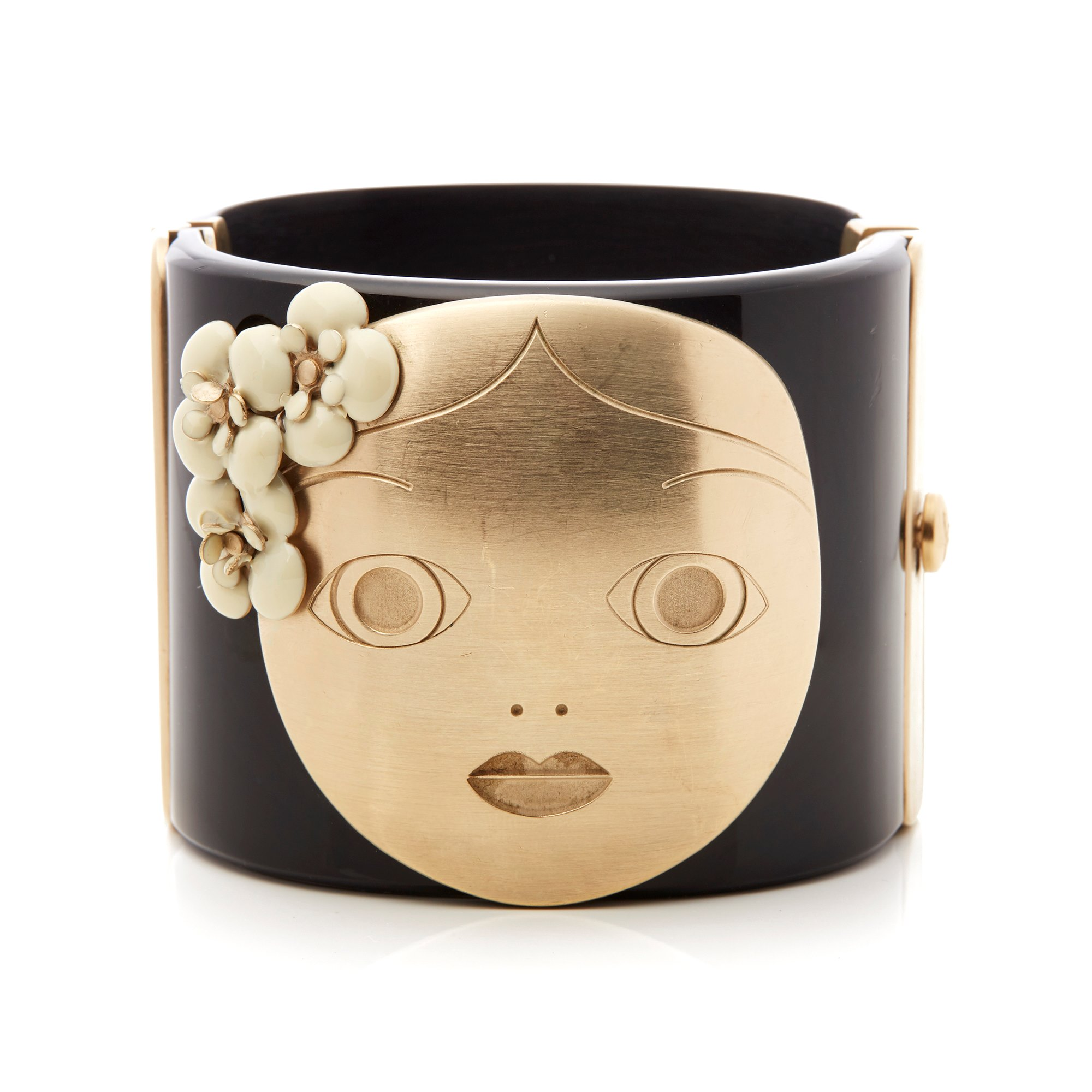 Chanel Black & Gold Tone Paris-Moscou Matryoshka Doll Cuff Bracelet