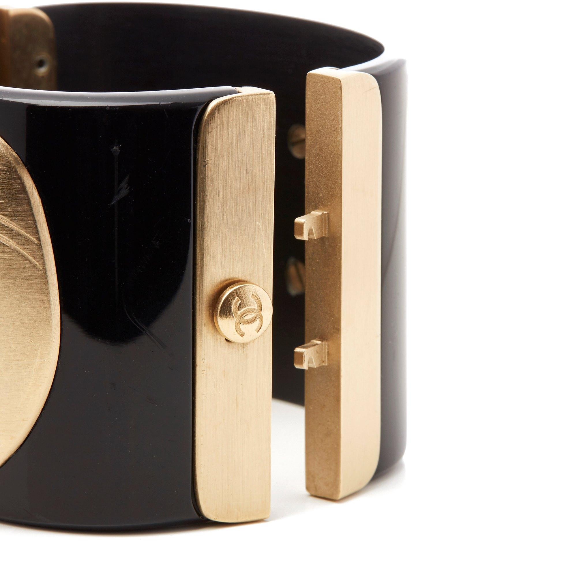 Chanel Black & Gold Tone Paris-Moscou Matryoshka Doll Cuff Bracelet