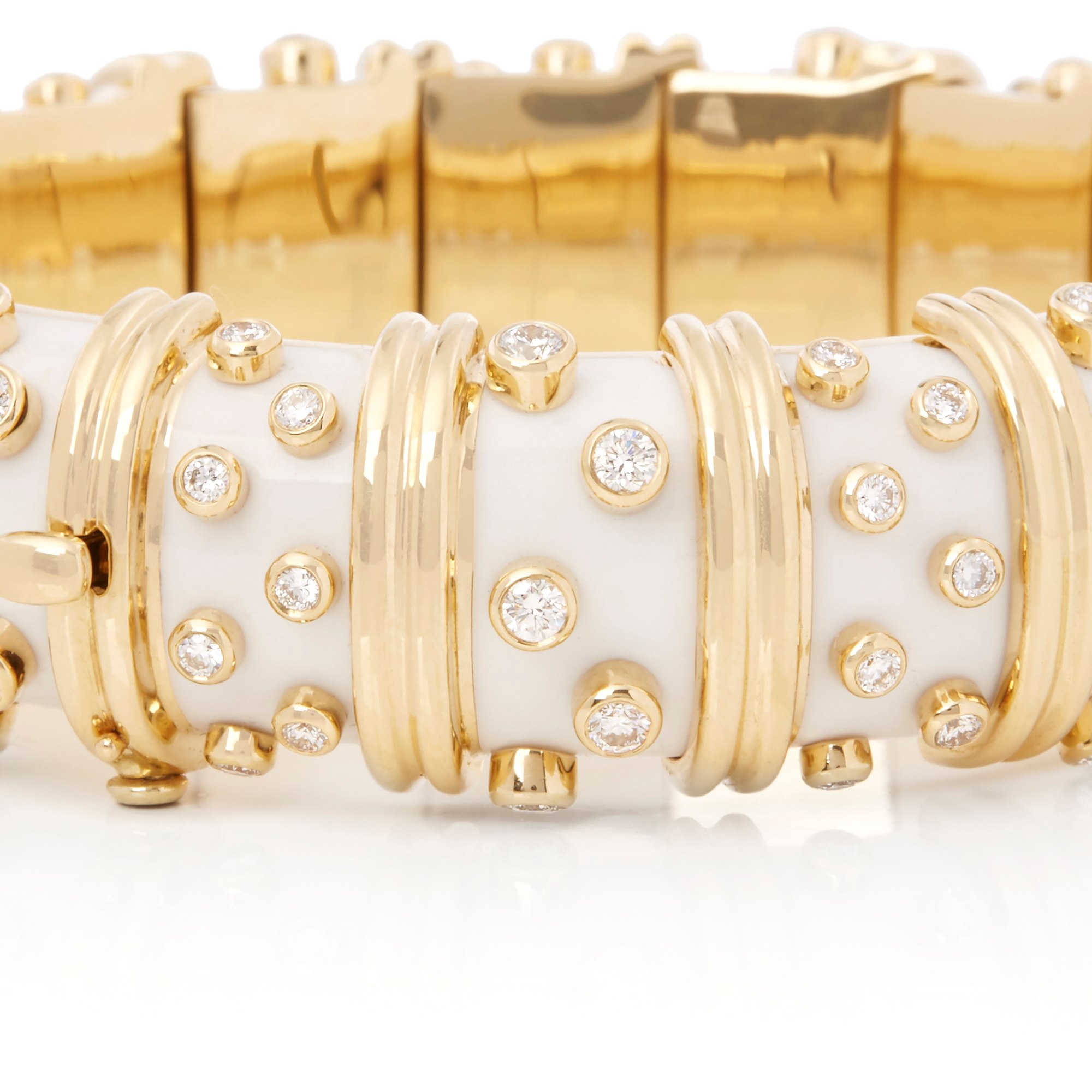 Tiffany & Co. 18k Yellow Gold White Enamel Schlumberger Bracelet