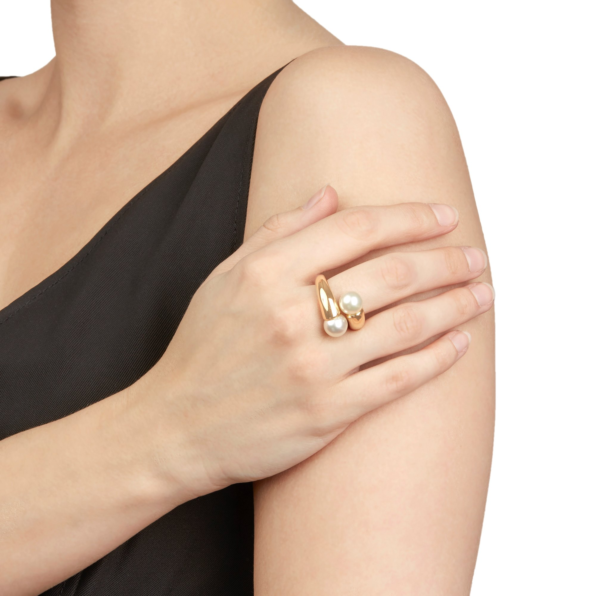 Cartier 18k Yellow Gold Double Pearl Ring