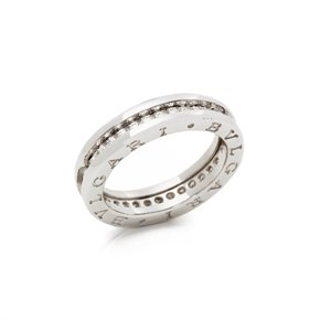 Bulgari 18k White Gold 1 Band Diamond B.Zero 1 Ring