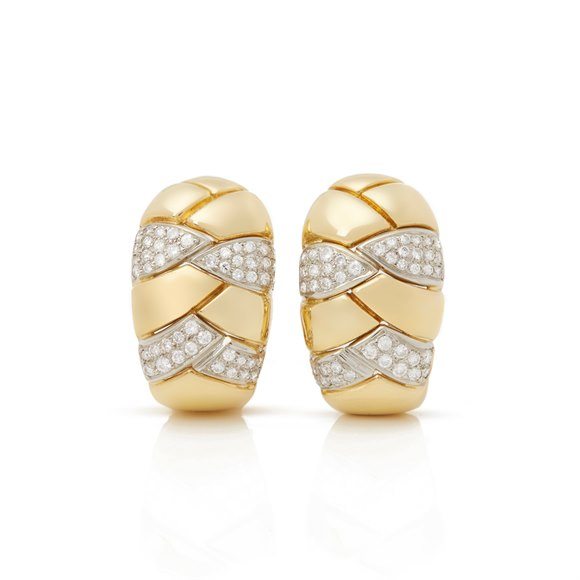 Cartier 18k Yellow Gold Diamond Vintage Earrings