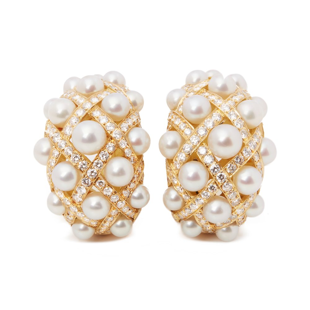Chanel 18k Yellow Gold Cultured Pearl Baroque Matelassé Earrings