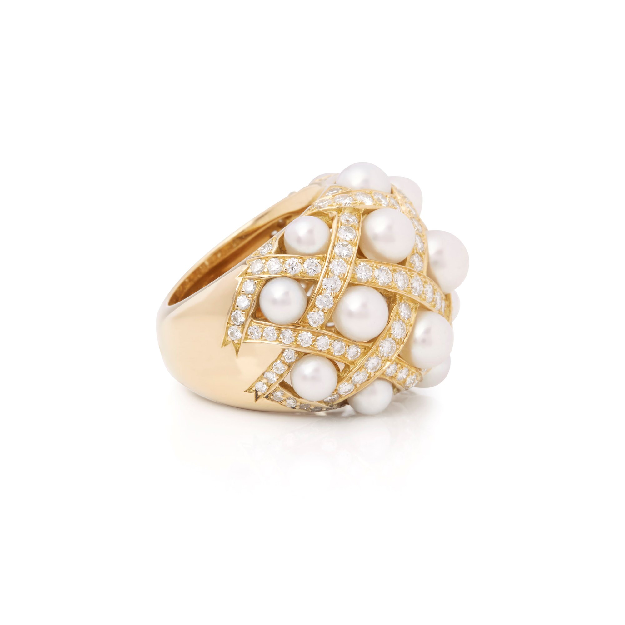 Chanel 18k Yellow Gold Cultured Pearl Baroque Matelassé Ring