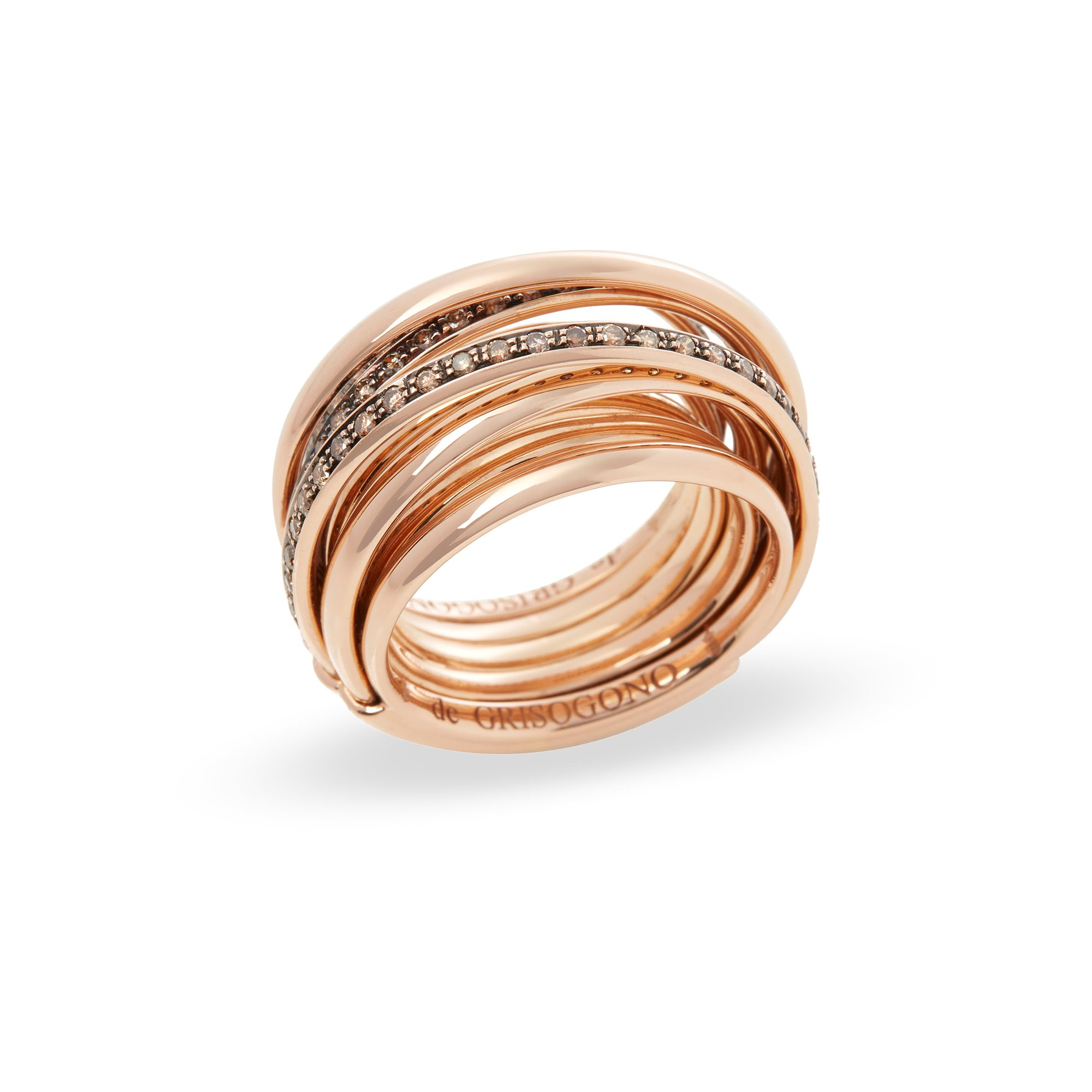 De Grisogono 18k Rose Gold Brown Diamond Allegra Ring
