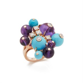 Cartier 18k Rose Gold Amethyst, Turquoise & Diamond Ring
