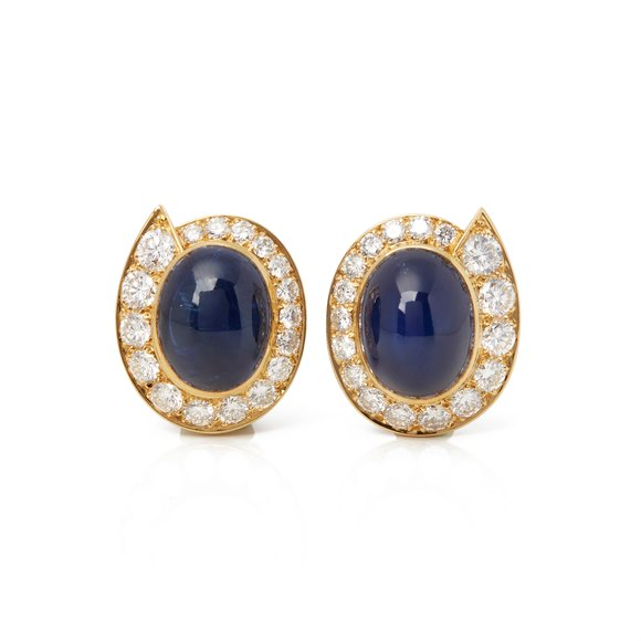 Van Cleef & Arpels 18k Yellow Gold Cabochon Sapphire & Diamond Earrings