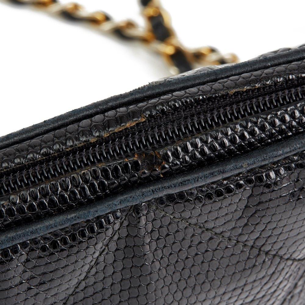 Chanel Black Quilted Lizard Leather Vintage Timeless Fringe Shoulder Pochette