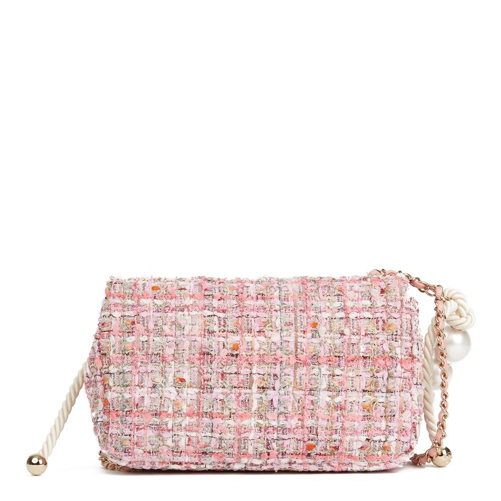 Chanel Pink Tweed Fabric & Pearls Classic Single Flap Bag