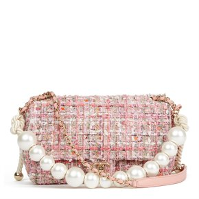 Chanel Pink Tweed Fabric & Pearls Classic Single Flap Bag