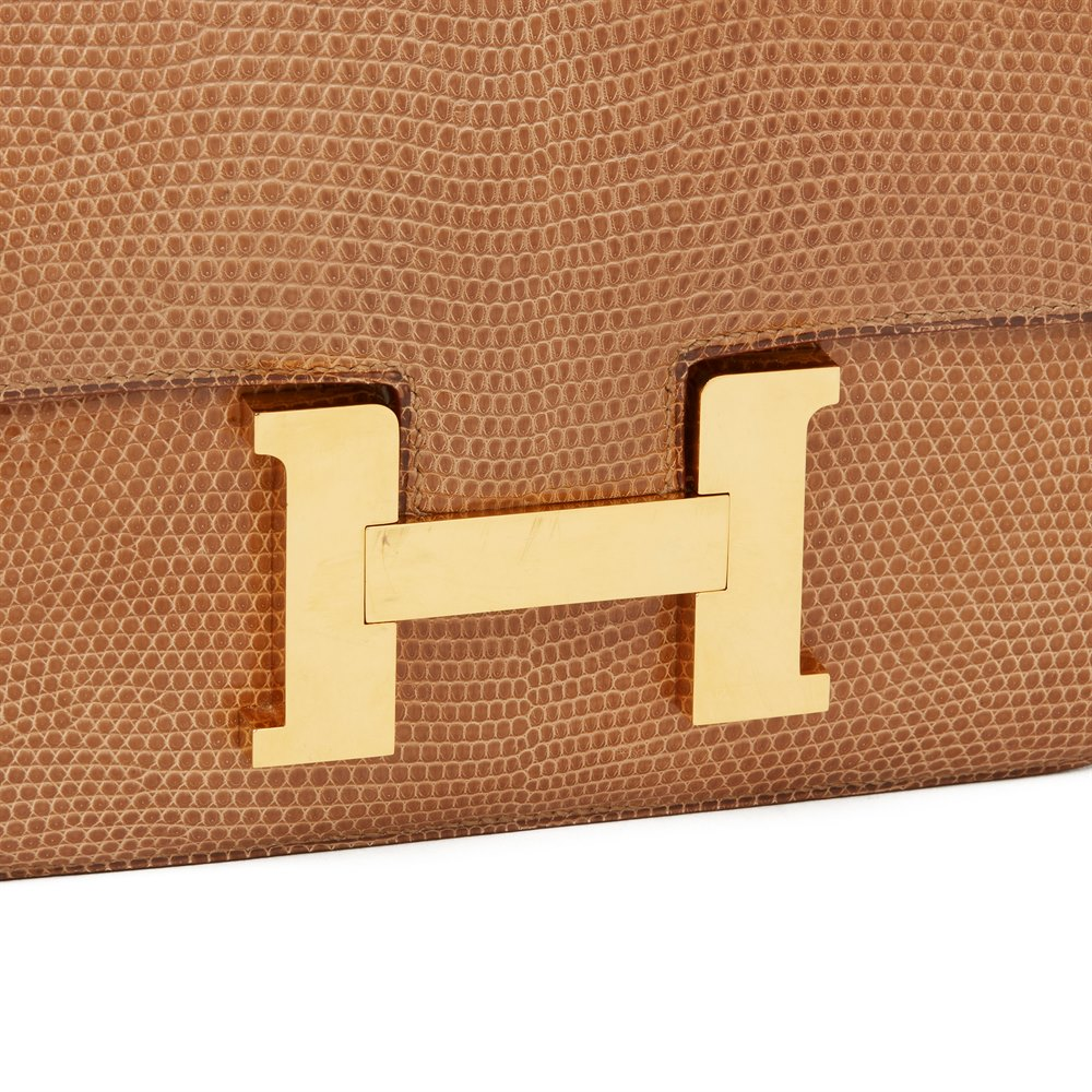Hermès Sesame Shiny Lizard Leather Vintage Constance 23