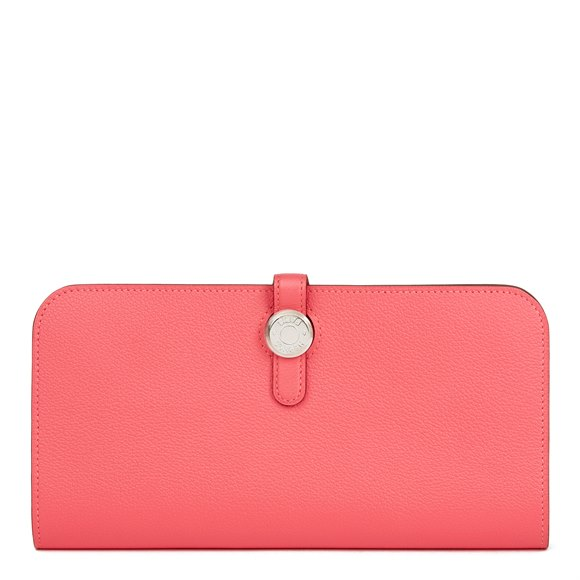 Hermès Rose Azalee Evercolor Leather Dogon Recto-Verso Wallet