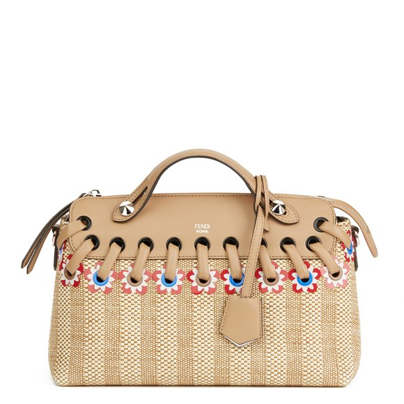 Fendi Tan Calfskin Leather & Raffia Flowers Medium By The Way