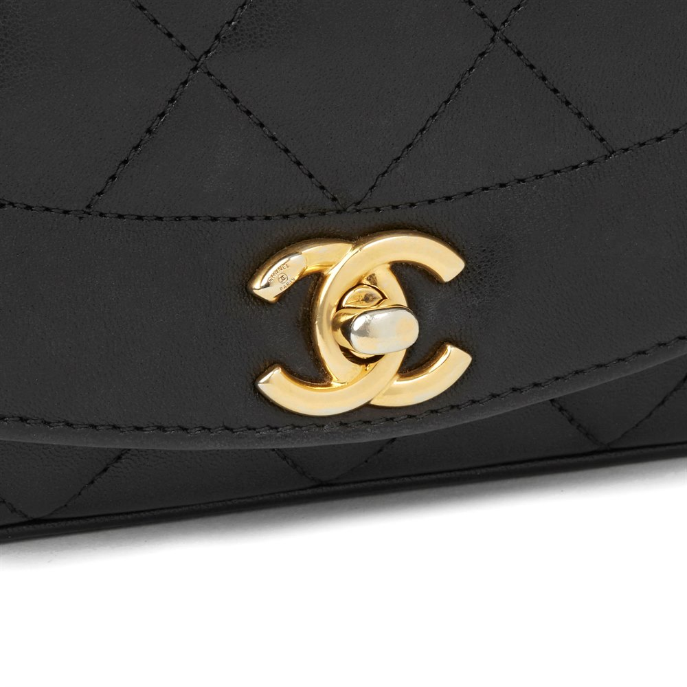 4aa60643ee13 Chanel Black Quilted Lambskin Mini Reissue Diana Classic Single Flap Bag