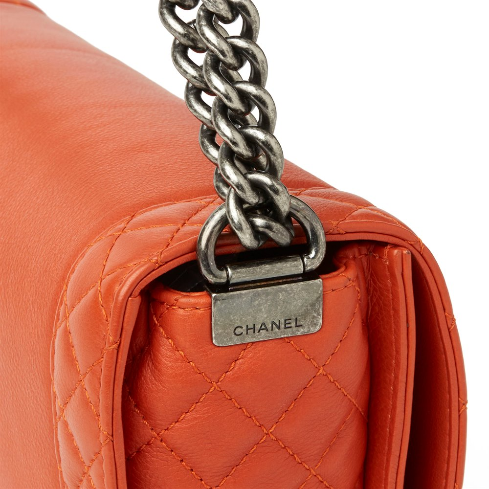 09723d63e264 Chanel Burnt Orange Quilted Calfskin Leather Medium Le Boy Reverso