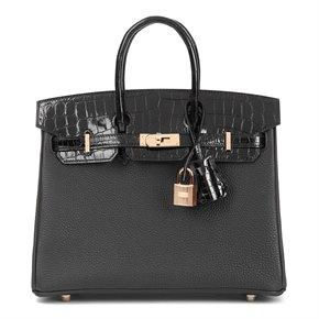 Hermès Black Togo Leather & Shiny Niloticus Crocodile Leather Birkin 25cm Touch