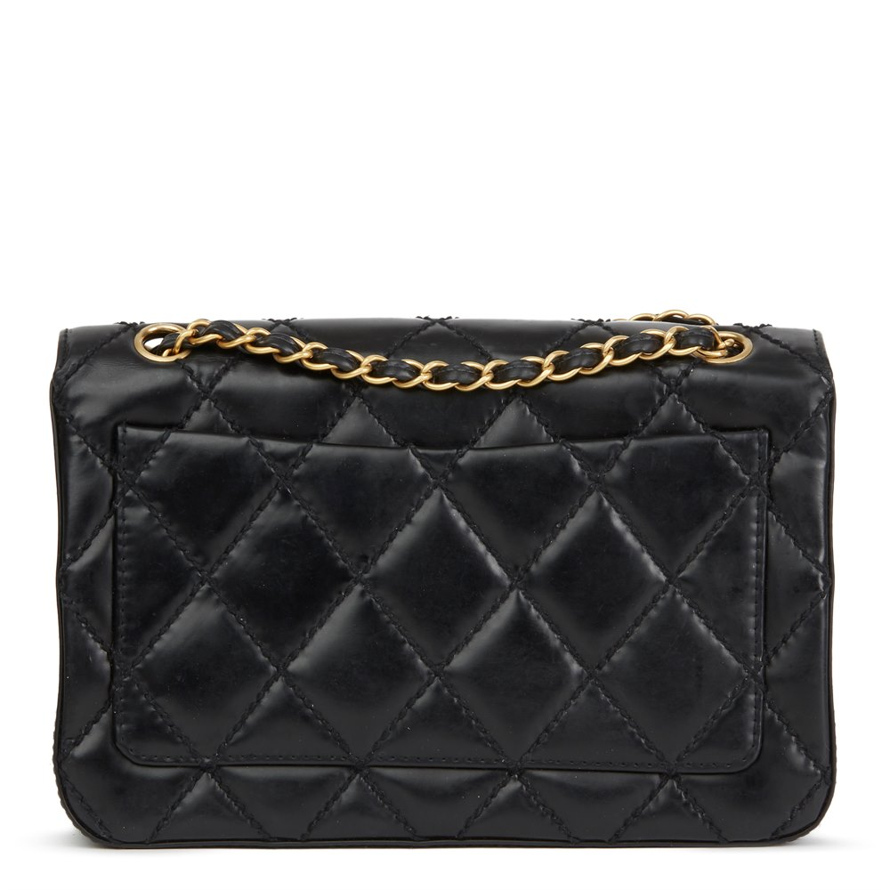 7b6830efba94 Chanel Black Heavy Stitch Quilted Calfskin Leather Classic Single Flap Bag