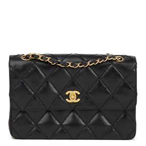 Chanel Black Heavy Stitch Quilted Calfskin Leather Classic Single Flap Bag