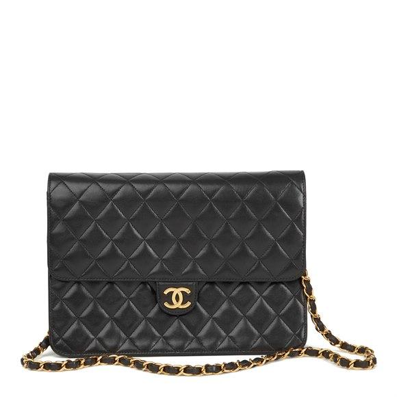Chanel Black Quilted Lambskin Vintage Medium Classic Single Flap Bag
