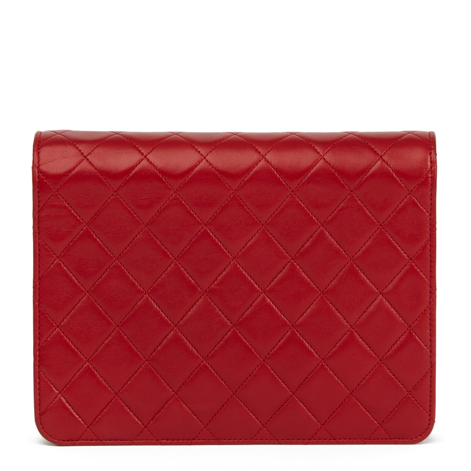 Chanel Red Quilted Lambskin Vintage Small Classic Single Flap Bag
