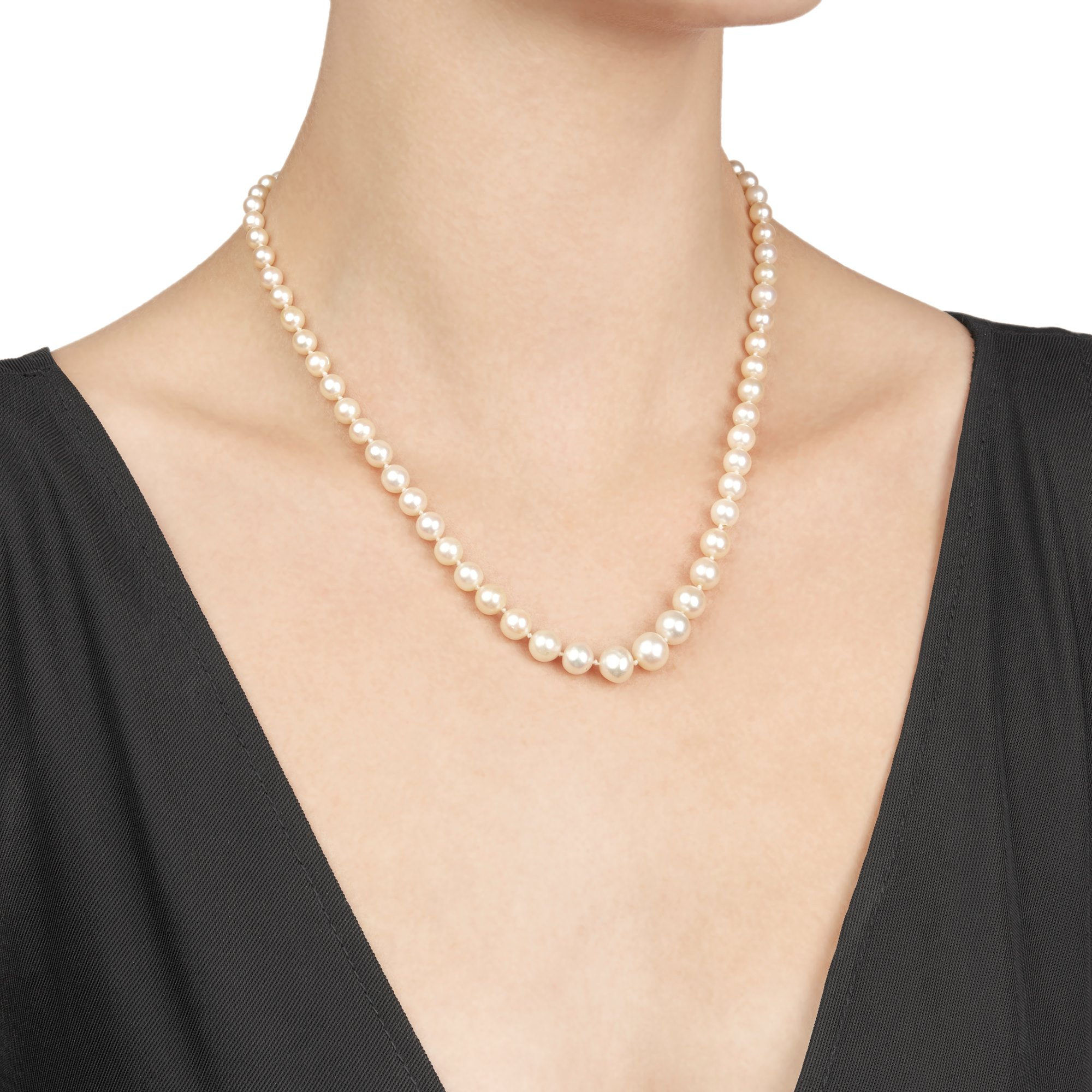 Boucheron 18k White Gold Vintage Pearl & Diamond Necklace