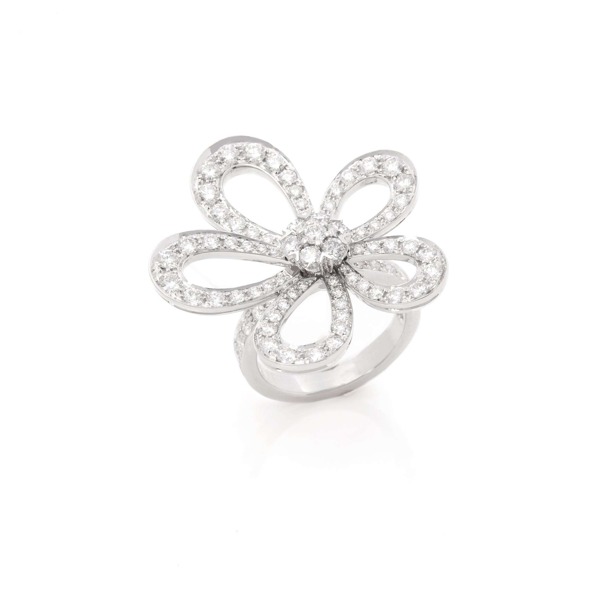 Van Cleef & Arpels 18k White Gold Diamond Flowerlace Ring