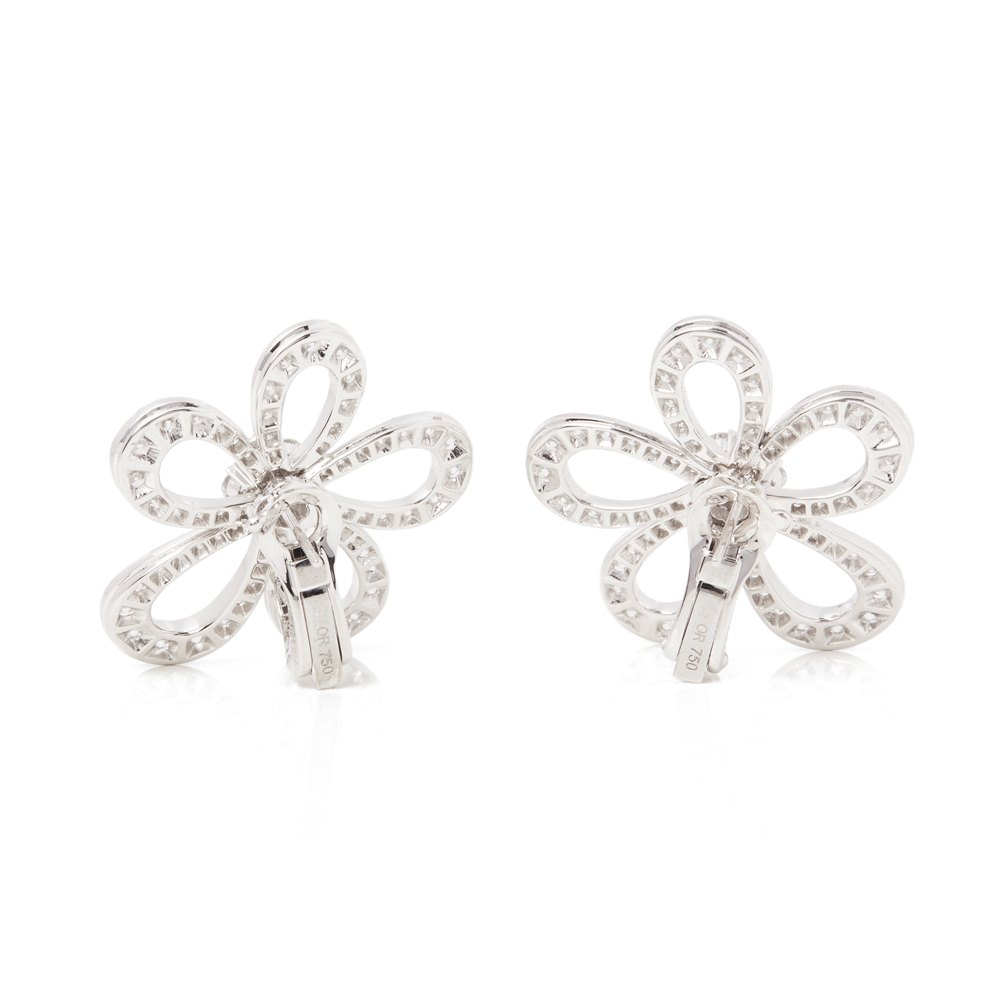 Van Cleef & Arpels 18k White Gold Diamond Flowerlace Earrings